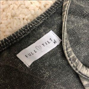 Full Tilt Pants - Full Tilt Stone Wash Gray Stretch Ruffle Romper